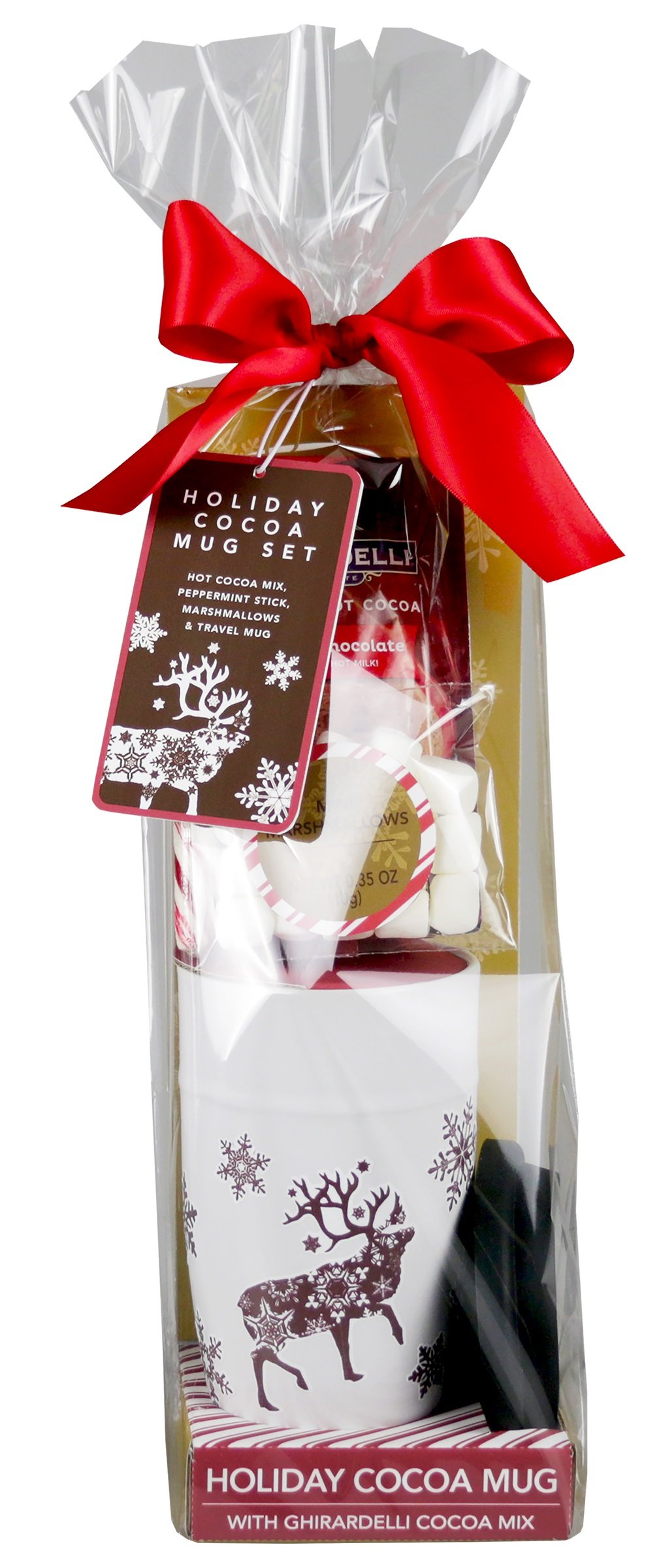 Ghirardelli Chocolate Holiday Travel Gift Set | Contains Ceramic Travel Mug, Hot Cocoa Mix, Peppermint Candy Cane and Mini Marshmallows