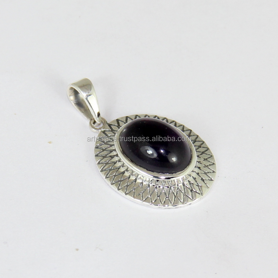India Gemstone Jewelry 925 Sterling Silver Garnet Pendant