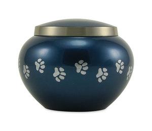 Blue Pet Paws Brass Cremation Urns