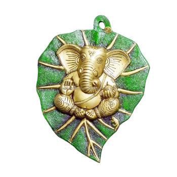 Hindu God Green Leaf Ganesh Statue Murti Idols Wedding Favor
