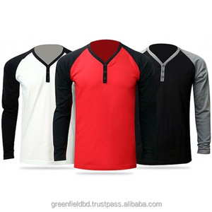 Men's raglan sleeve long sleeve slim fit Y-neck wholesale t shirts