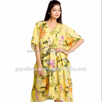 Bird Floral Kaftan Indian Handmade Bikini Cover Boho Short Plus Size ...