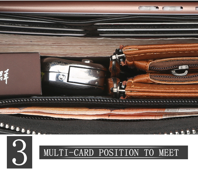 Baellerry 2018 New Style Animal Pattern Long Section Genuine Leather Clutch Wallet For Men With Hand Strap