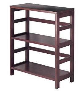 K&A Company Contemporary 3-Storage Bookcase Tier Unit Wood Shelves 11.2 x 25.2 x 29.2 inches in Espresso Wood Finish