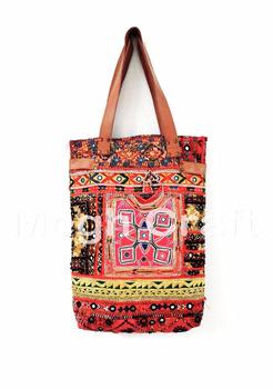 71d6a83ba13d Designer Handmade banjara Mirror work Lather Tote HANDBAG - Vintage banjara  Bohemian Hippie style traditional bag