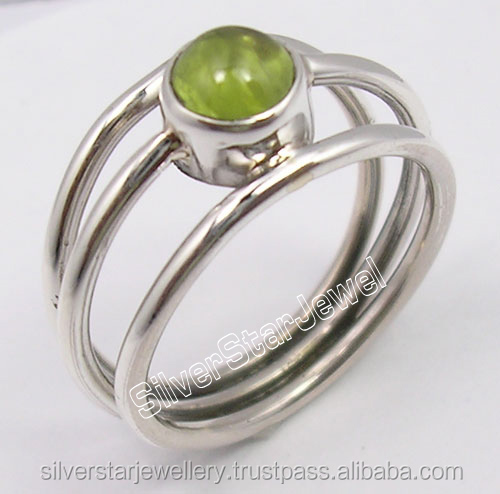 Fashion Tribal Style Delhi Jewelry Supplier 925 Sterling Silver CABOCHON PERIDOT GEM 3 WIRE Rings Any Size