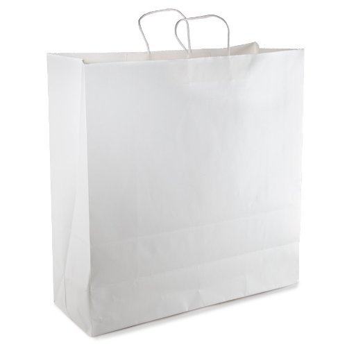 """White Kraft Paper Shopping Bag with Twisted Paper Handle, 18"""" X 7"""" X 19"""" Tall. 12 Per Pack"""