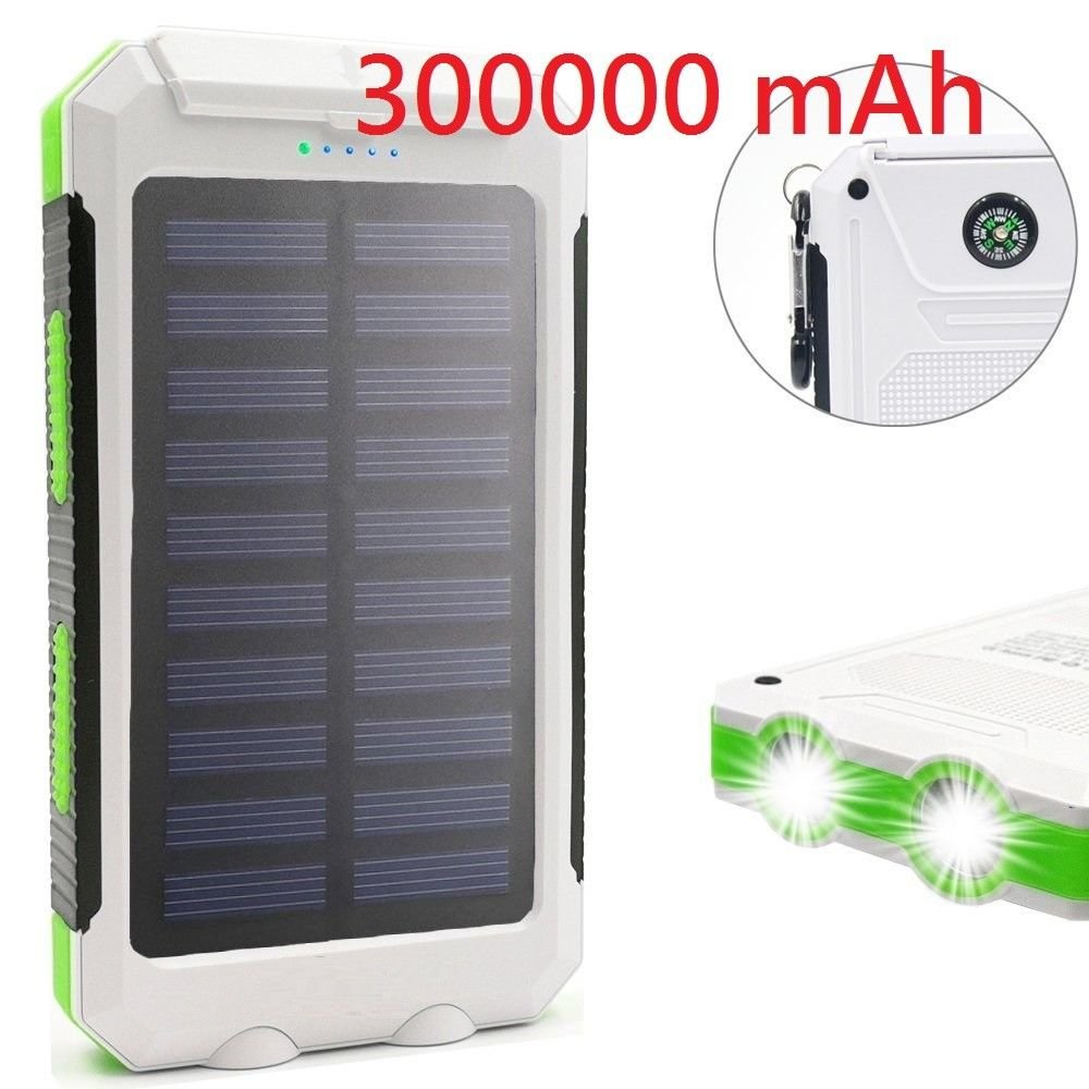 TAVLAR 300000mAh Waterproof Dual USB Portable Solar Battery Charger Solar Power Bank