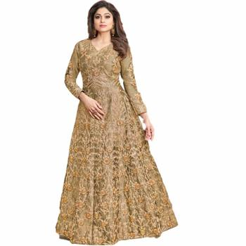 ad2e2ac4d5 Indian Designer Anarkali Traditional Brown Color Malbari Cotton Embroidery  And Stone Work Dress Material Salwar Kameez