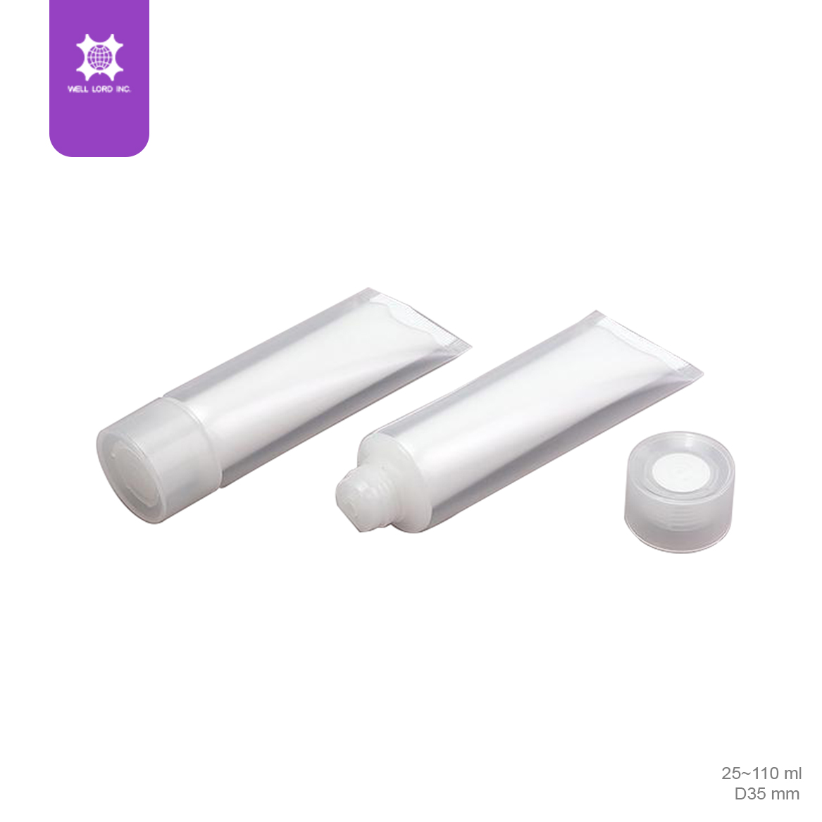 Plastic flat tube screw cap with transparent empty cosmetic tube 25ml