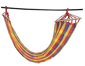 K&A Company Portable Hammock Camping Hanging Swing Outdoor Bed Wood Canvas in Blue Red and Yellow