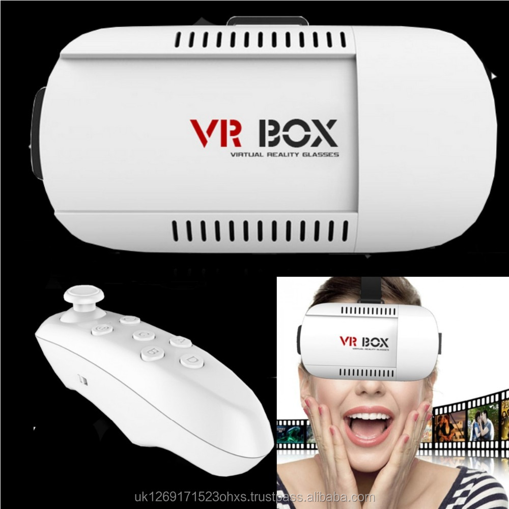 2017 Latest Universal Design 3D Virtual Reality Glasses VR Box + Bluetooth Remote Set - UK WHOLESALE