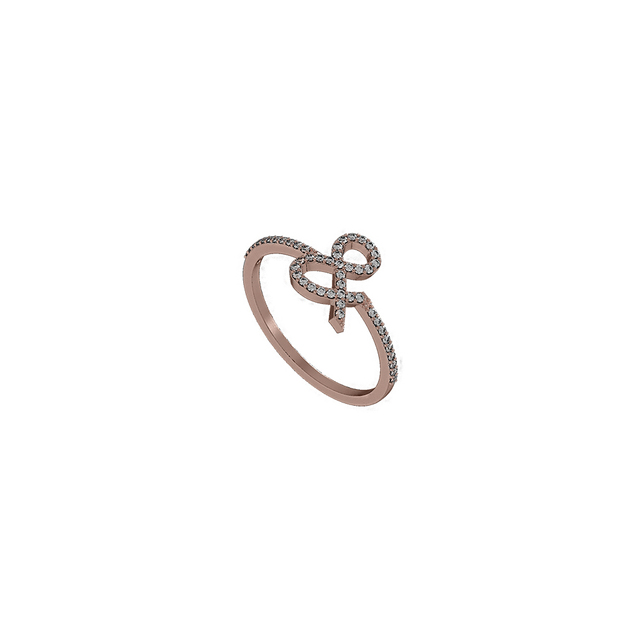 14k Rose Gold Ampersand Shape Pave Diamond Ring