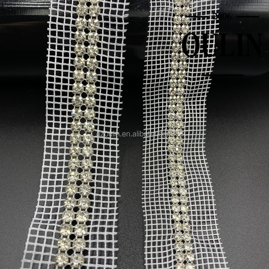 Two rows rhinestones chain on mesh can be customized different size