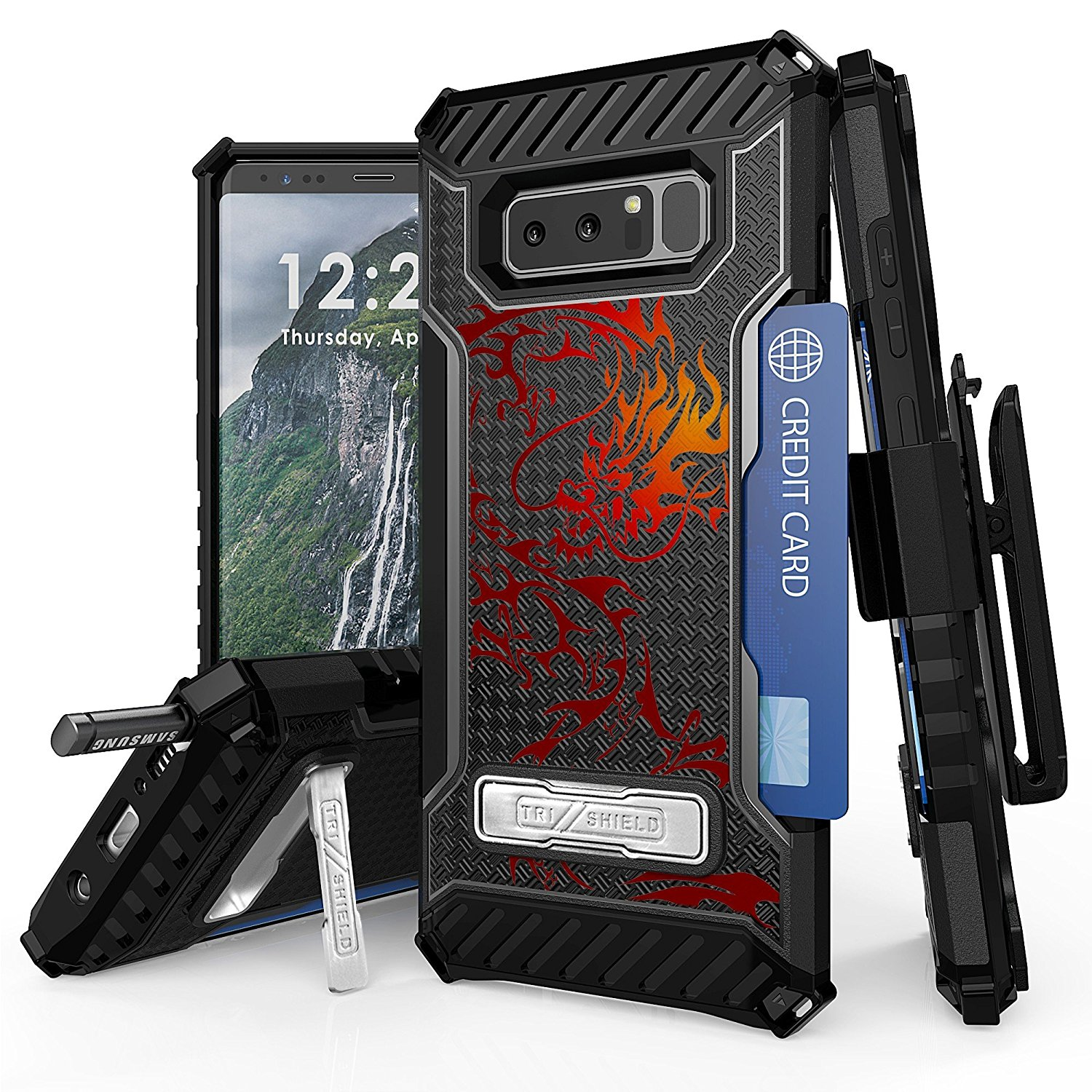Galaxy Note 8 Case, Spots8 Dual Layer Hybrid Armor Rugged Bumper Protection Phone Cover With Screen Protector Swivel Holster Phone Strap Built in kickstand And Card Slot Tribal Color Dragon