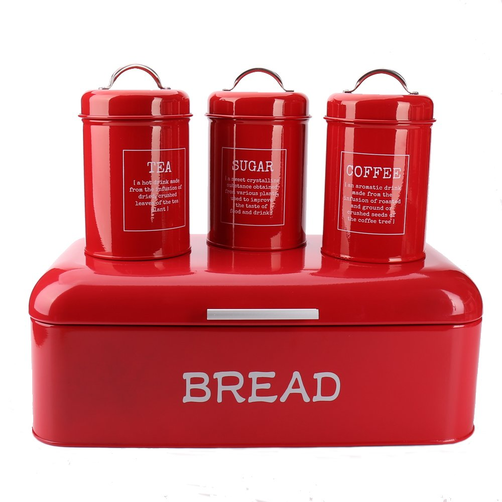Hot Sale X384L Set of 4 Square Large Metal Vintage Home Kitchen Gifts Storage Tin Canister/Bread Box/Bin/Container/Holder Sets(Red)