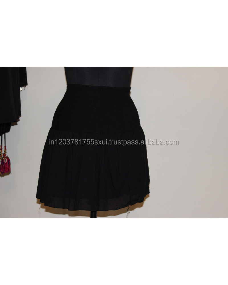 Secret Bazaar Solid Women's Regular Black Skirt