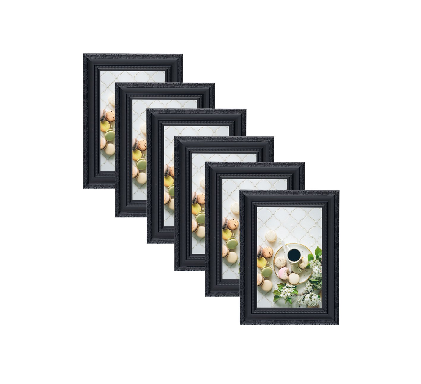 84ccdd977c Get Quotations · Unique Plated Beaded Border Black Picture Frames (6 pc)  Display with Photo Glass Front