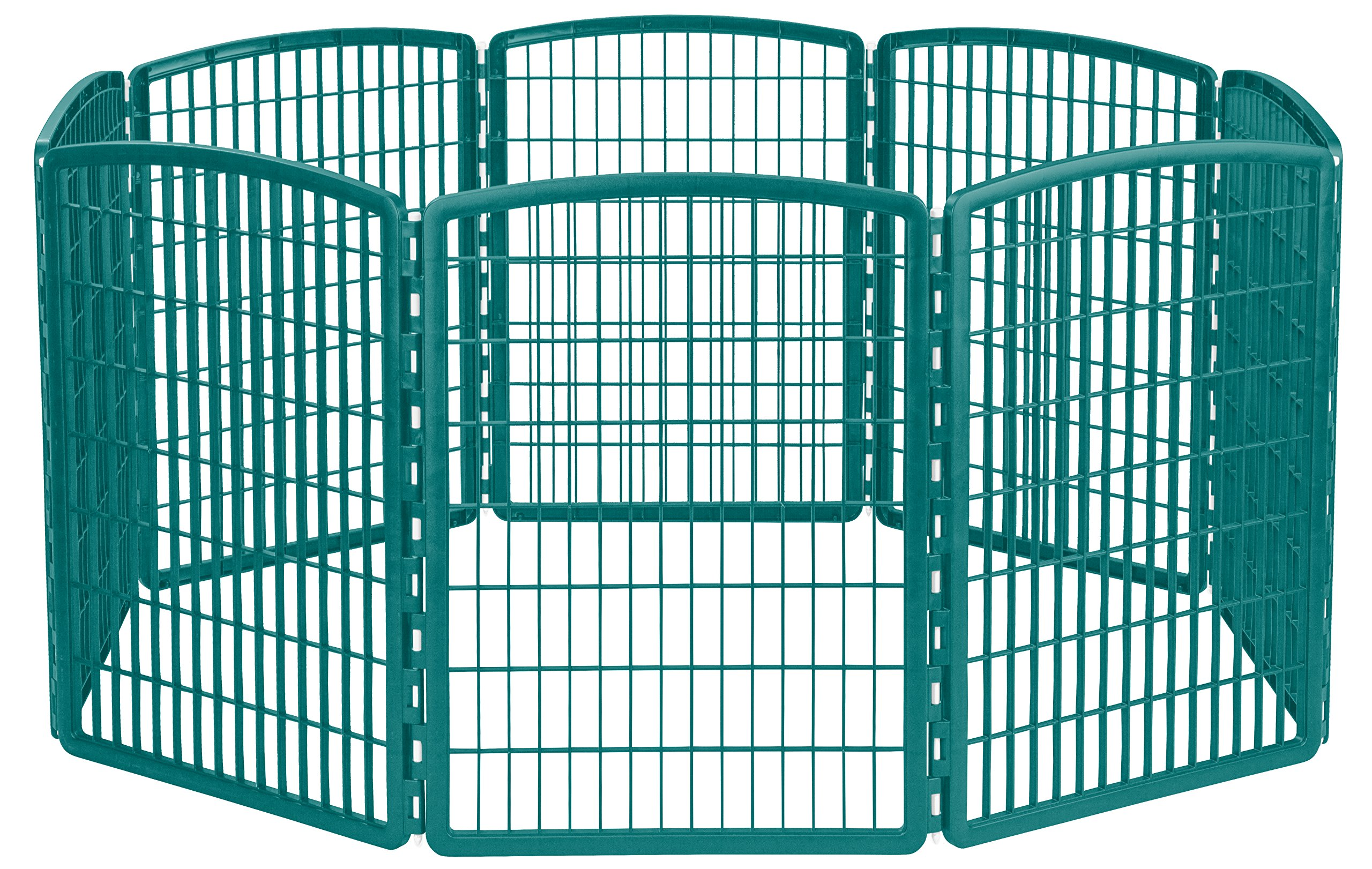 IRIS 34'' Exercise 8-Panel Pet Playpen without Door, Turquoise