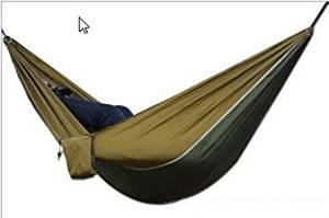 Yikemama Outdoor leisure hammock - Ultra-light Parachute Cloth Hammock Outdoor Camping Leisure Hammock, Size Optional --Ultralight convenient hammock (Green mixed camel yellow)