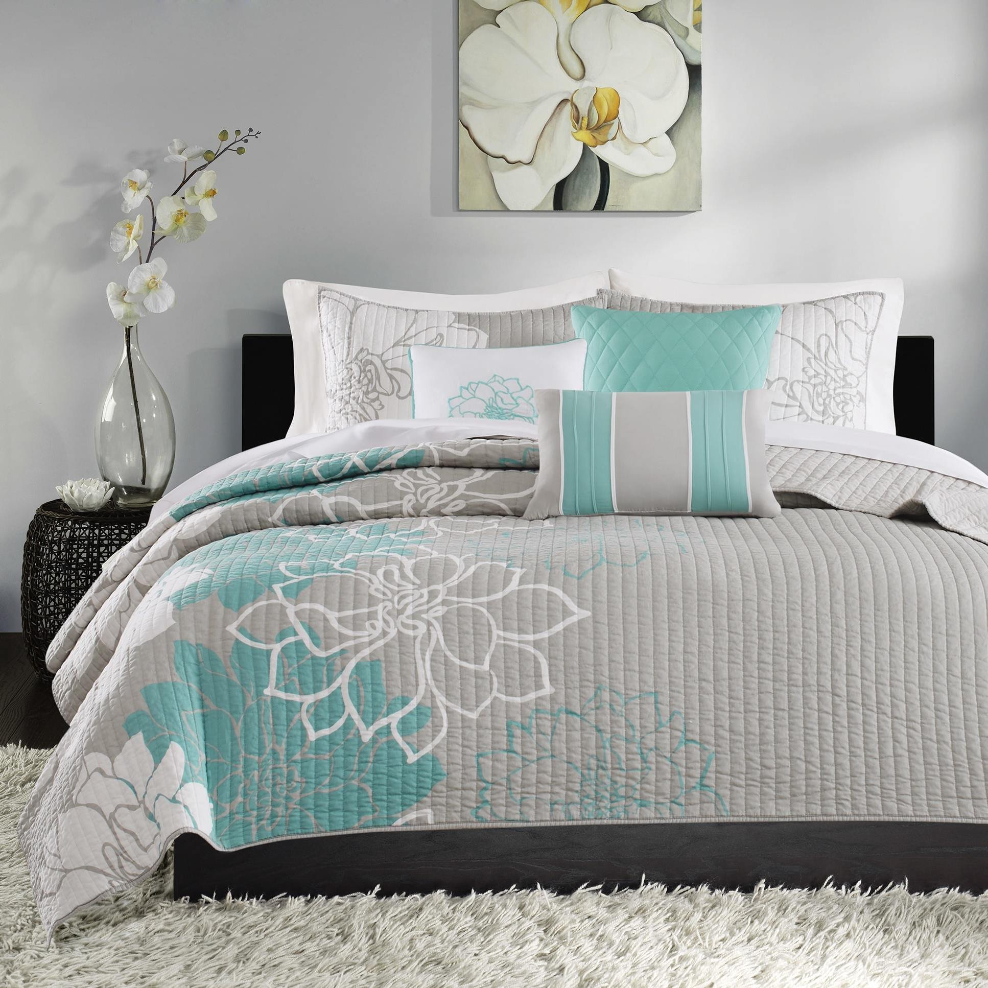 6 Piece Stunning Grey Blue White Full Queen Coverlet Set, Stylish Contemporary Floral Themed Reversible Bedding Aqua Turquoise Modern Gorgeous Summer Lily Pretty Slate Teal Trendy Beautiful, Cotton