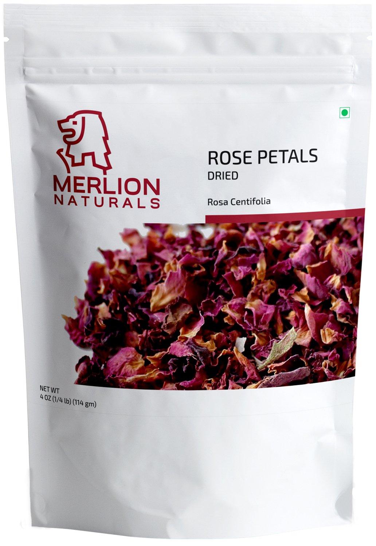 Dried Rose Petals (Rosa Centifolia) by MERLION NATURALS - 114 g / 4 OZ - 100% Natural | Vegan | Non GMO | Ideal for Rose Tea and Potpourri