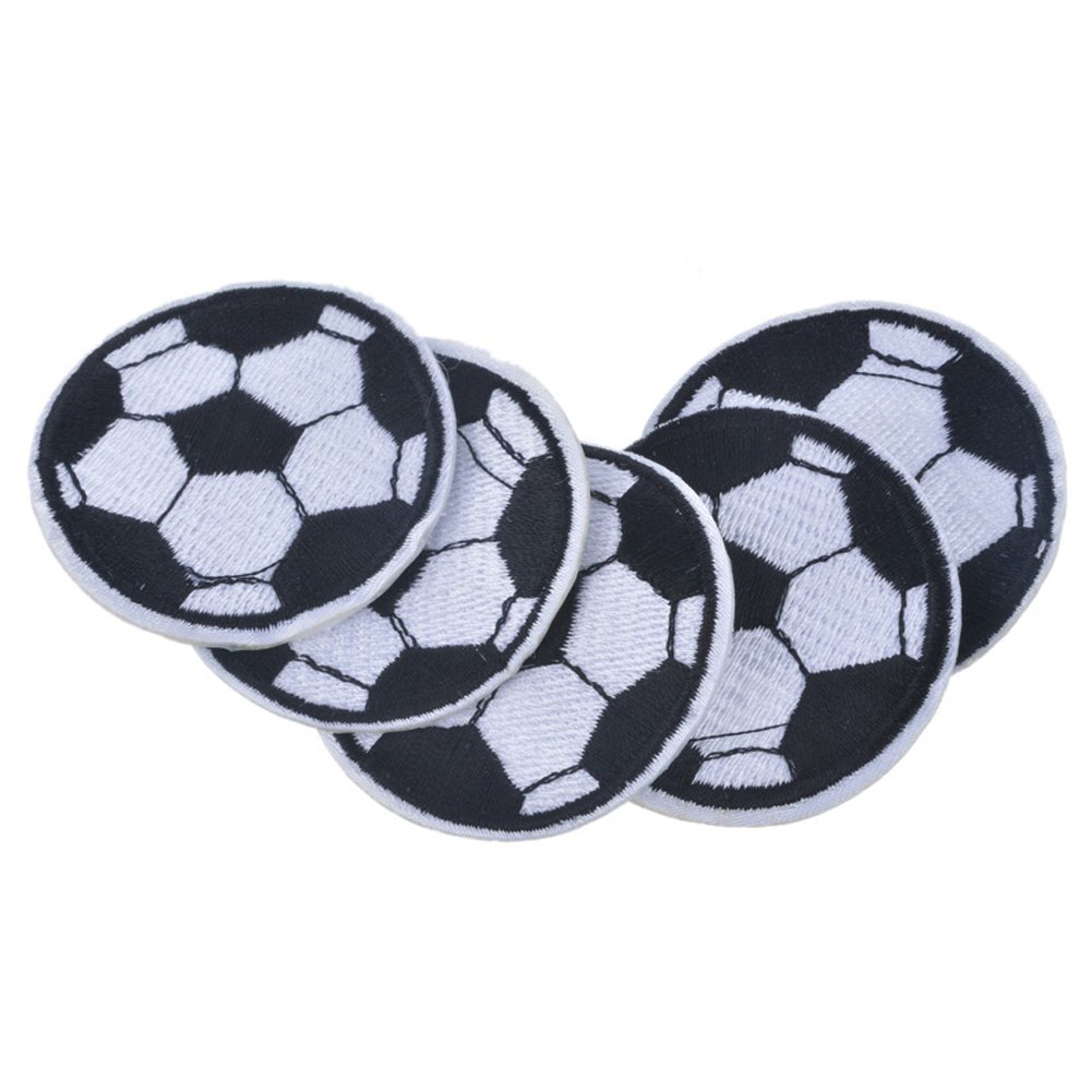 XUNHUI Soccer Ball Patches Embroidered Patches for Clothing Iron On Football Patches for Jeacket Pants 5Pieces 4.8cm