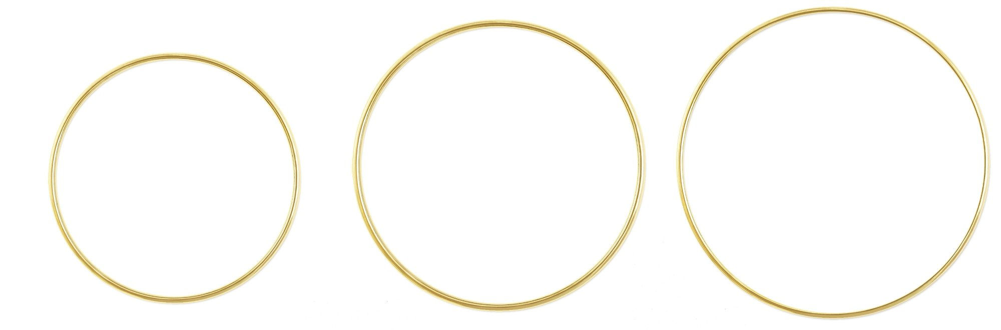 Metal Rings For Craft - Metal Rings Hoops - Macrame Dream catcher Floral Jewelry Making Brass Rings - CraftMedley (1x 8in + 1x 12in + 1x 14in) - Large, Round, Brass