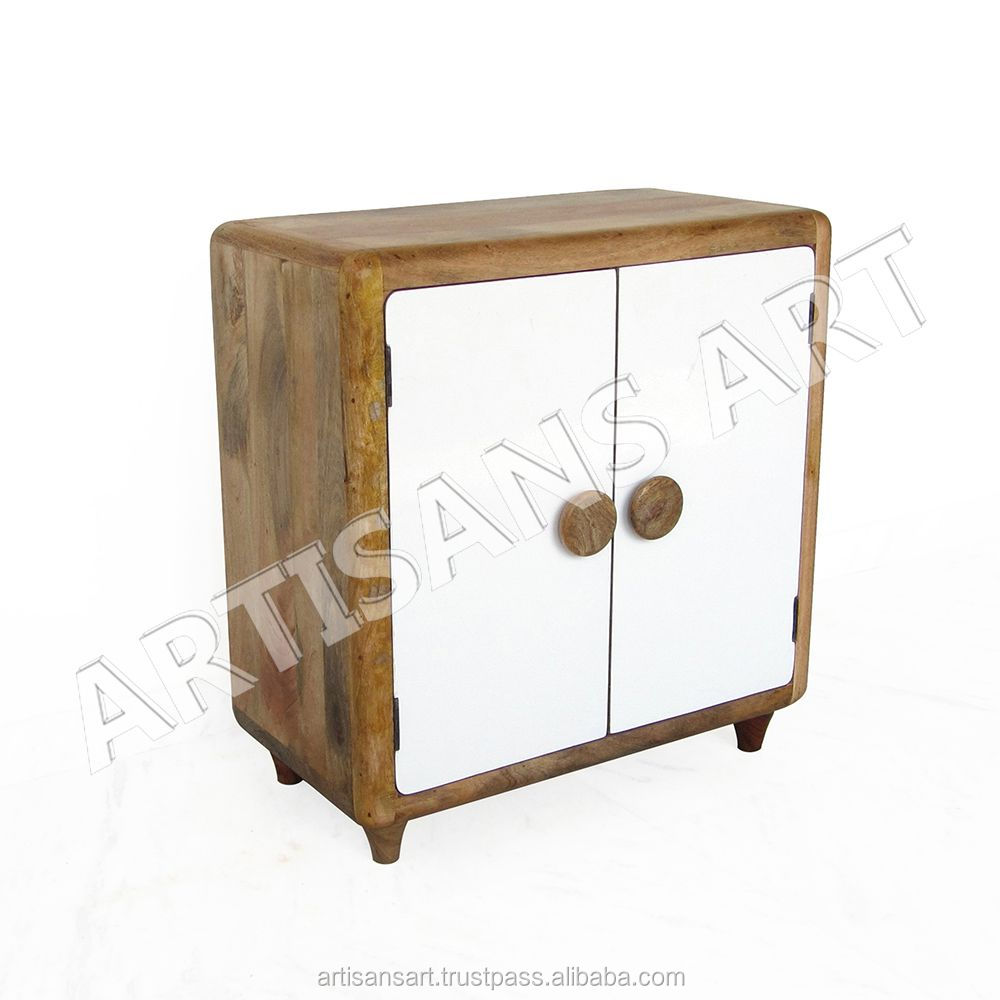 Solid Mango Wood 2 Door Storage Cabinet With White Painted Indian Living Room Furniture Narrow Cabinets Doors Signature