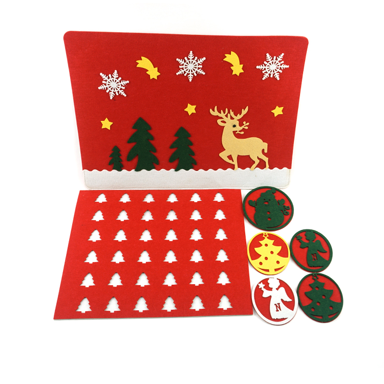 3mm Thickness Laser Cut Handmade Christmas Drink felt table mat