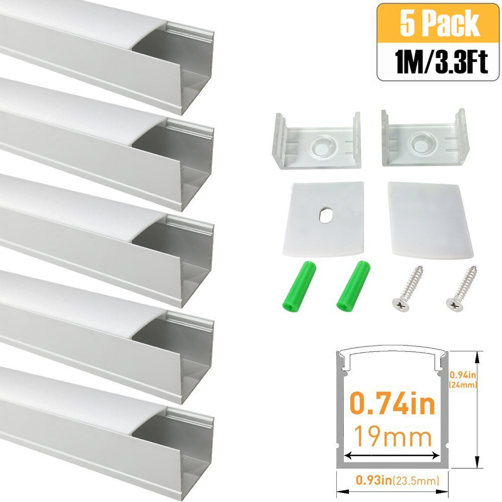 LightingWill Spot Free U Shape LED Aluminum Channel 5-Pack 3.3ft/1M 24x24mm Anodized Silver Track Internal Width 20mm with Cover End Caps Mounting Clips for Cabinet Kitchen LED Strip Lighting-U06S5