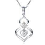 Top Quality 0.188CT 18K white gold Diamond engravable pendant insurance sapphire pendant