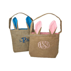 Personalized Lovely Burlap Easter Bunny Bag