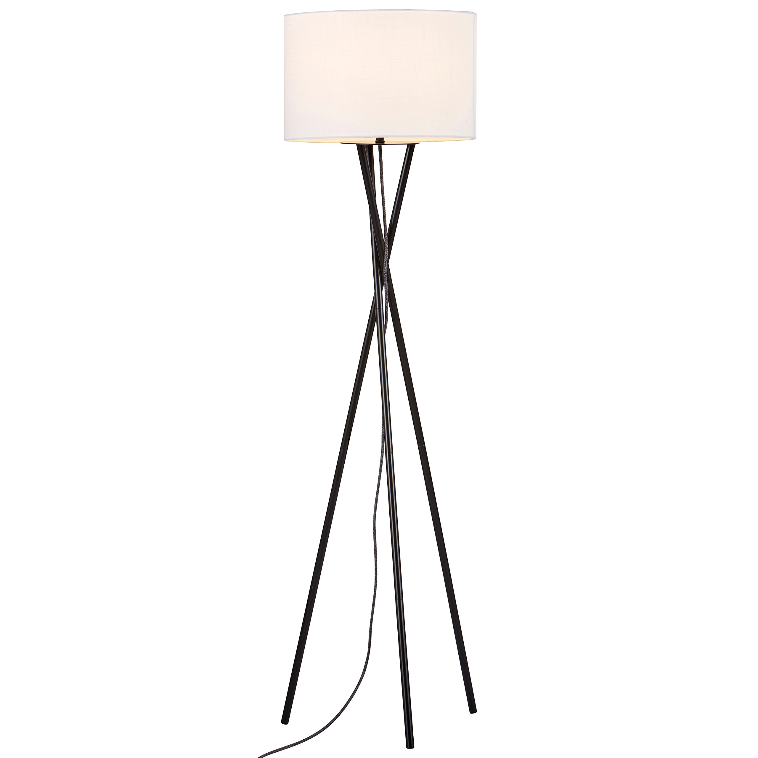 "Rivet Metal Tripod Floor Lamp, With Bulb, Linen Shade, 64"" x 17"" x 17"" , Black"