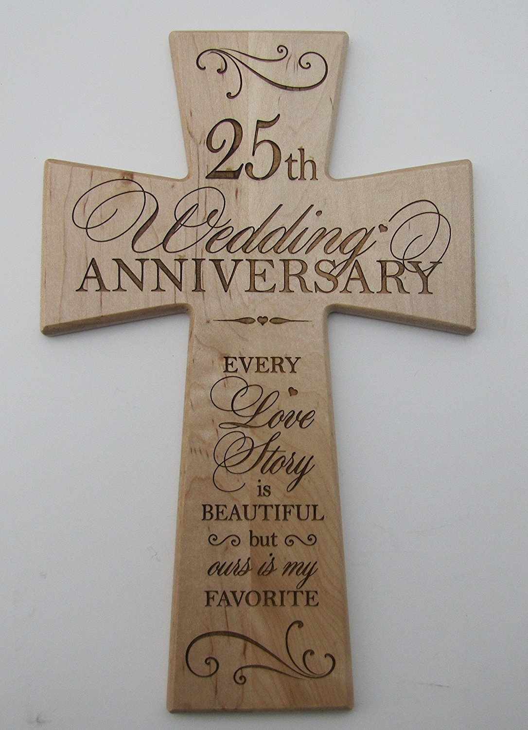 Buy 25th Wedding Anniversary Maple Wood Wall Cross Gift For Couple
