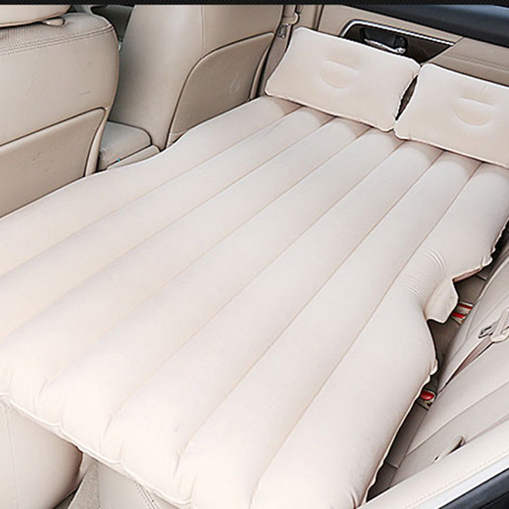LBZE Car Inflatable Bed Air Mattress Travel Bed Flocking Inflatable Car Bed Traveling Camping Car Back Seat Beige