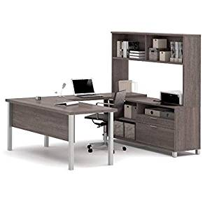 "Bestar U-Shaped Desk W/Hutch 71""W X 89""D X 68 5/8""H Features Square Metal Legs, A Hutch For Extra Storage & A 1.5"" Thick Desk Surface & 1"" Thick Credenza Surface - Bark Gray"