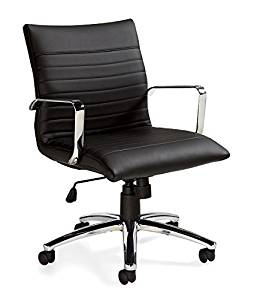 "Offices To Go Mid Back Conference Chair 23.5""W X 24.5""D X 38""H Seat Height: 17.5 - 21.5"" Seat Width: 21"" Seat Depth: 17.5"" Back Width: 20"" Back Height: 21"" Arm Height: 7.5"" - Black"