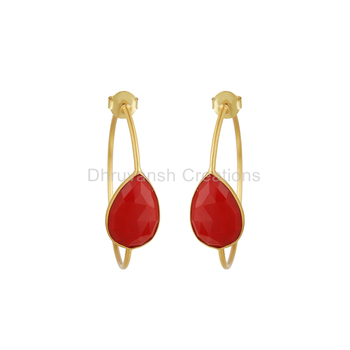 18K Gold Plated 925 Sterling Silver Designer Hoop Earring Gemstone Red Coral Earring Fashion Jewelry Wholesaler