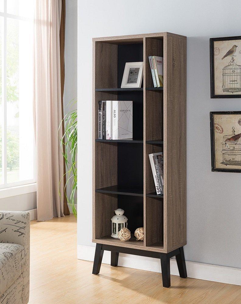 Smart Home 161665 Modern Slim 4-Shelves Bookcase and Display Unit (Dark Taupe & Black)
