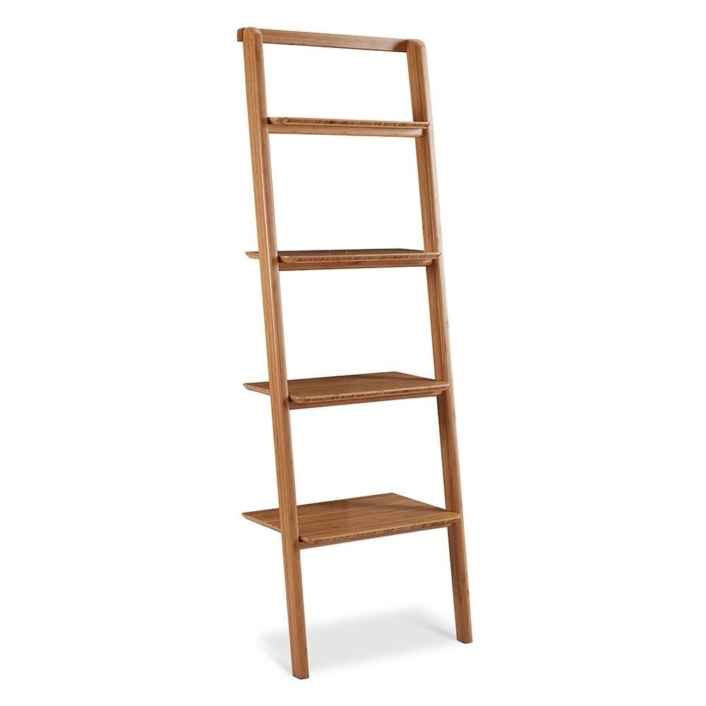 """Currant Four Shelf Solid Bamboo Leaning Bookcase - 70""""H Caramelized Solid Bamboo Dimensions: 24""""W X 15""""D X 70""""H Weight: 37 Lbs"""