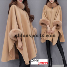 Mode Vrouwen Dames Flare Mouw Faux Vos Bontkraag <span class=keywords><strong>Winter</strong></span> Wollen Mantel <span class=keywords><strong>Cape</strong></span> Jas Poncho Lange OvercoatPonchos en Capes