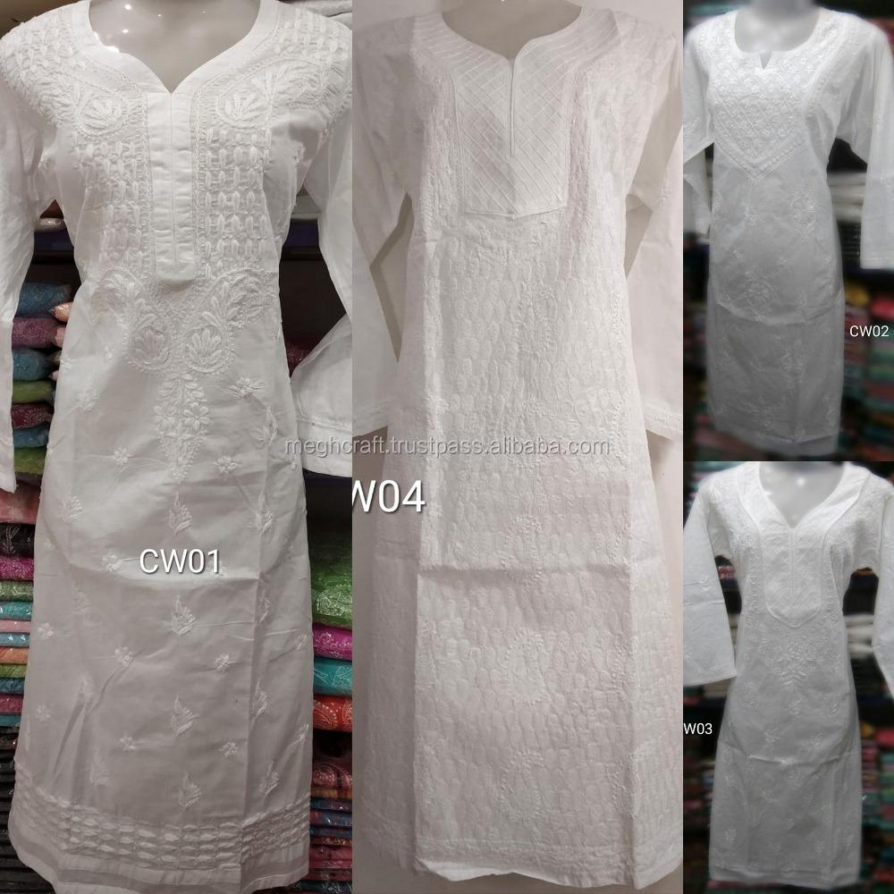 Summer wear cotton white embroidered Tunic - Summer wear Top - Cotton white  chikan embroidery Kurti - Chinkankari Kurtis
