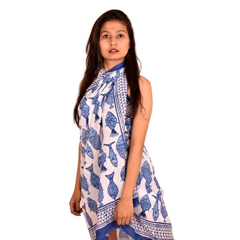 Fish  printed cotton beach sarong wholesale scarf cheap prices