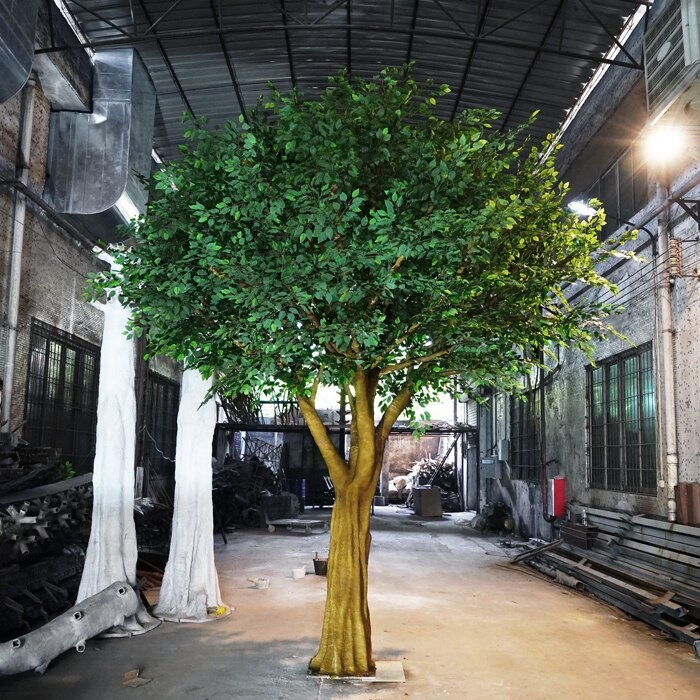 High quality huge <strong>artificial</strong> indoor ficus lyrata tree Variety <strong>green</strong> white <strong>leaves</strong> of oak tree for Party Decoration Event sale