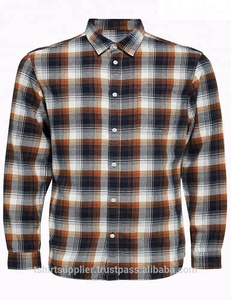 100% Cotton Flannel Checked Long Sleeve Men`s Shirt
