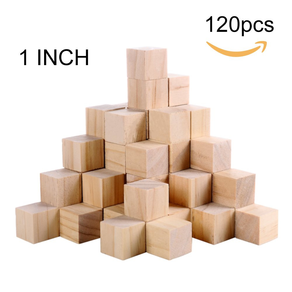 Supla 120pcs 1 inch Natural Solid Cube Wooden Unfinished Craft Wood Blocks Wood Cubes for DIY Craft Gifts (120pcs)