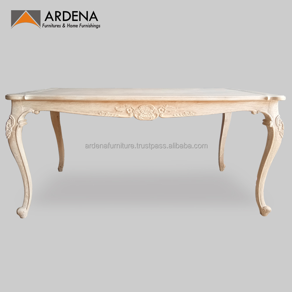 Lime wash finished french provincial furniture dining table jepara furniture