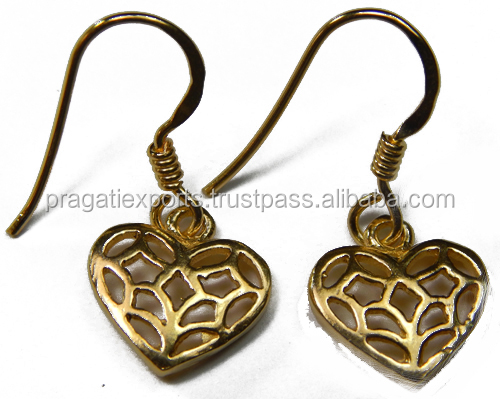 Small Heart Shape Gold Plated Pure 925 Sterling Silver Earring