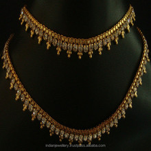 Indian traditional golden plated jewellery anklets exporter, best designed gold - plated jewellery anklet manufacturer